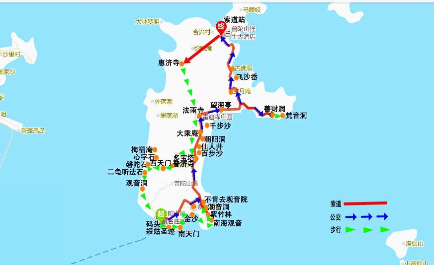 我的普陀山一日游路线示意图2016年4月到达 【仙叠岩景区】2016年4月