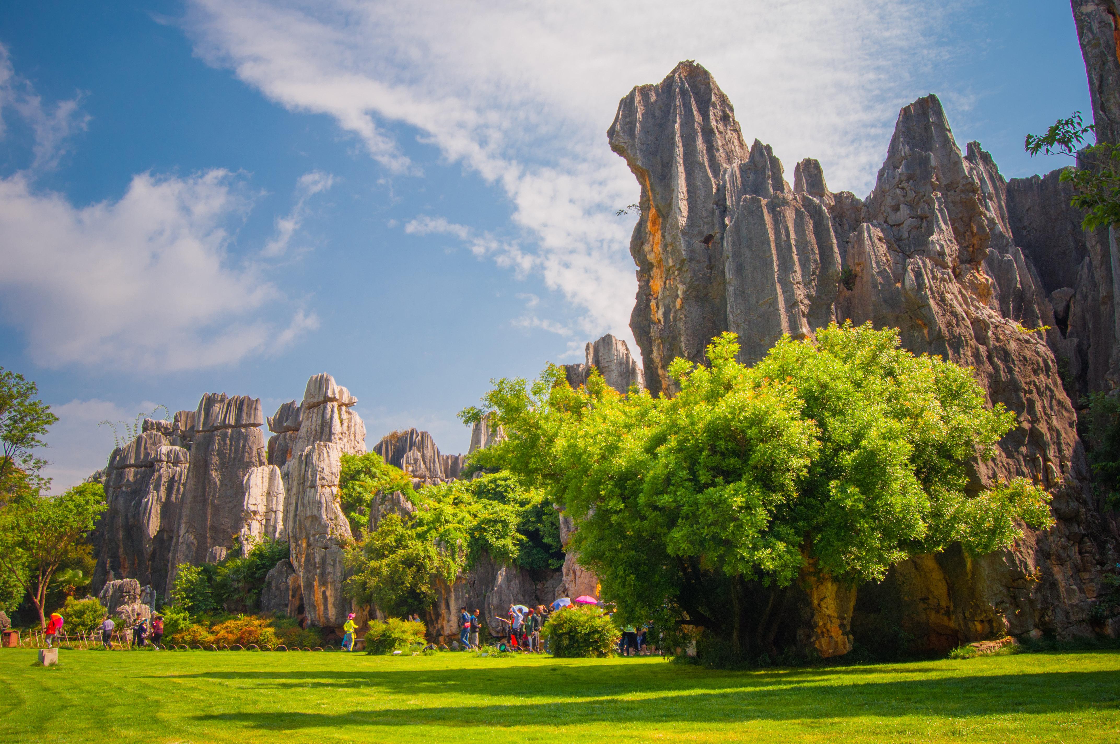 石林风景区范围广袤,山光水色各具特色,石牙,峰丛,溶丘,溶洞,溶蚀湖